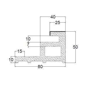 Recystel stelkozijnprofielen - recystel R-2004 - technische tekening dwarsdoorsnede