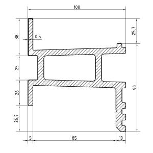 Recystel stelkozijnprofielen - recystel R-2009 - technische tekening dwarsdoorsnede