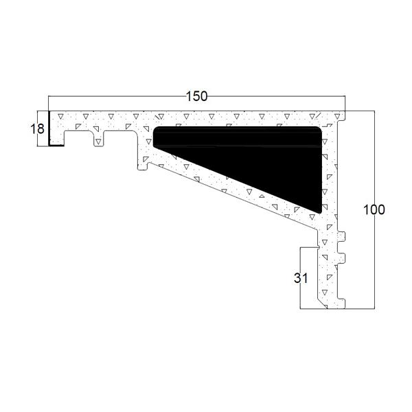 Recystel stelkozijnprofielen - recystel R-2010 - technische tekening dwarsdoorsnede